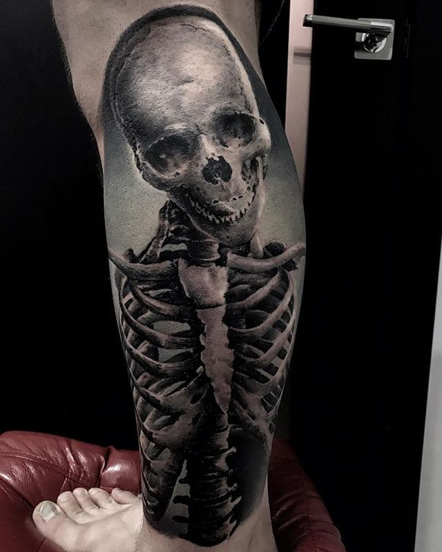 Skeleton tattoo made in RightStuff tattoo studio